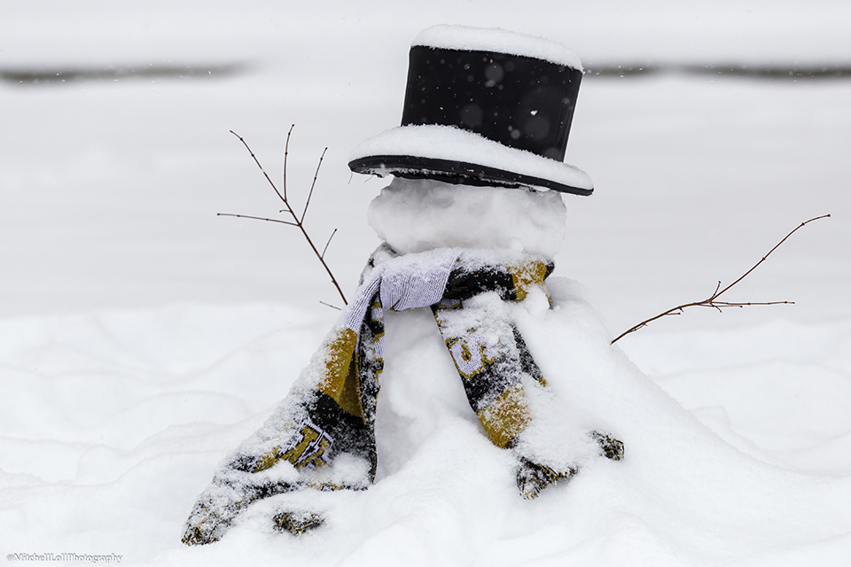 The WFU Deacon as a snowman, photo by Mitchell Loll