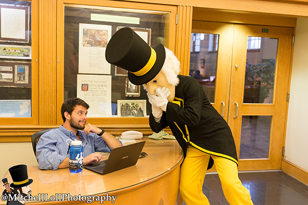 The Deacon visits the ZSR Library at WFU