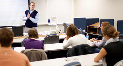 John Petrocelli, who joined the faculty in 2007 after earning his Ph.D. from Indiana University Bloomington, teaches his social psychology class.