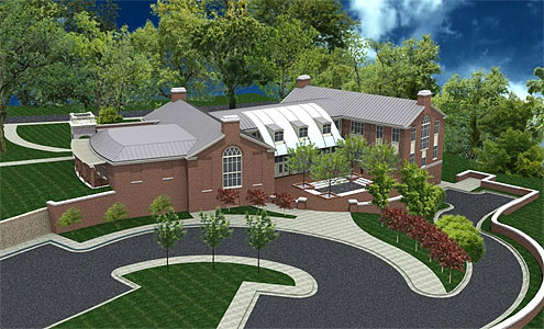 Architectural rendering of the new admissions building and Welcome Center.