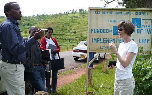 Sarah Lischer (far right) with the staff of the Lutheran World Federation at a rice cooperative in eastern Rwanda.