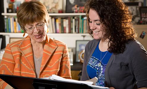 Junior Katherine Morgan (with Professor of Music Teresa Radomski) used a Richter Scholarship to study the works of composer Arthur Sullivan.