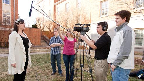 Hailey Robbins records a segment for ESPN-U with WAKE TV crew members Brent Lindley, Rebecca Moberly, Ben Kempton and John Harrison.