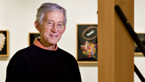 Robert Knott in 2008 at an exhibition of his artwork in the Hanes Art Gallery.