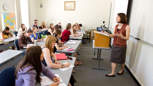Emily Wakild, who joined the history faculty in 2007, teaches her Latin American history class.