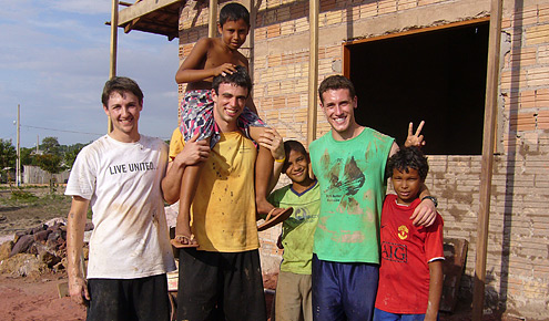 Wake Forest students with some of the children they helped in Brazil.