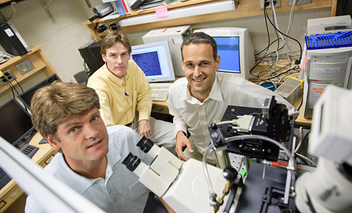 Wake Forest physics professors Martin Guthold, left to right, Keith Bonin and Jed Macosko.