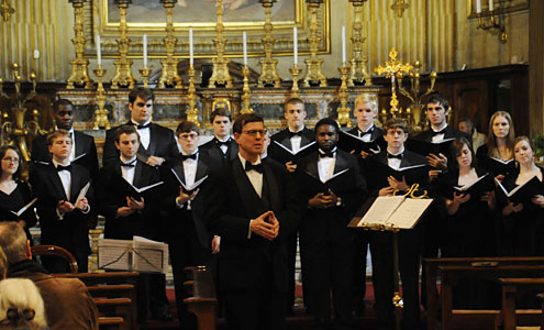 The Wake Forest Concert Choir performs at Basilica di Sant'Eustachio in Rome.