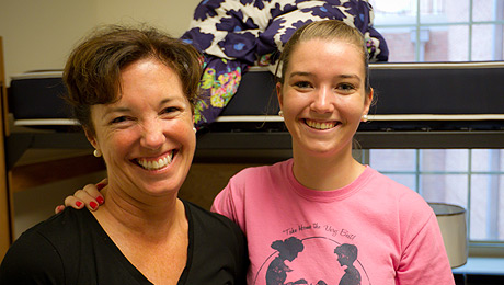 Mother and daughter on move-in day