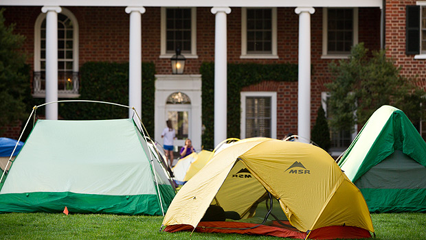 Tents on the lawn of the President's home