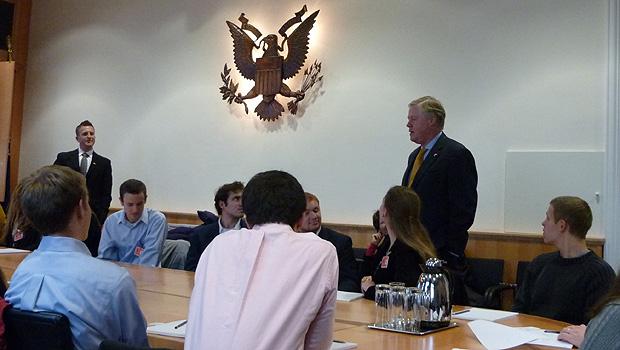 Business students meeting the ambassador