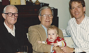 Four generations of Vann family alumni: Curtis' great, great uncle Willard, his grandfather; Bob (holding Curtis); and his father, John.