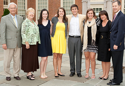 From left, Linville and Mary Jon Roach, Michelle and Allison Lange, Davis, Emily, Stephanie and Gerald Roach. (Though not pictured, Michelle and Allison's parents, Ginny Lawson and Steve Lange, are also Wake Forest alumni.)