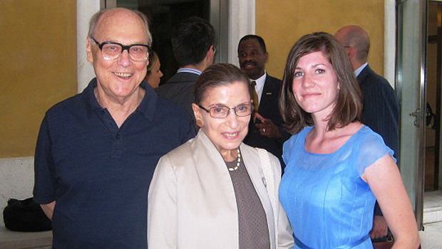 Martin Ginsburg and U.S. Supreme Court Justice Ruth Bader Ginsburg pose with Erin Hartnett ('10) at a reception during part of the Venice Study Abroad Program in 2008.