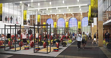 A rendering of the weight room in the health and wellness center.