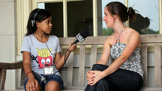 Radio Camper conducts an interview at Wake Forest.