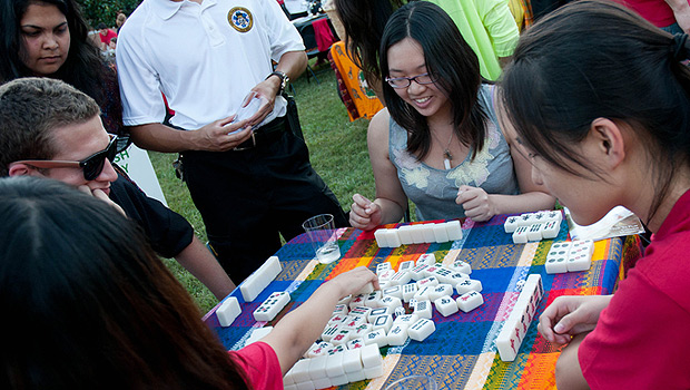 Students play a game at the World Cultural Festival.