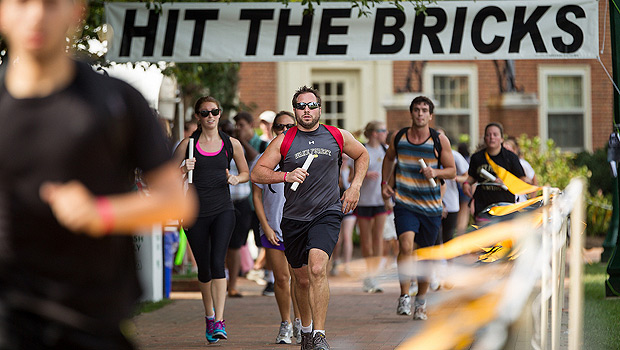 Members of the Wake Forest community run laps on Hearn Plaza to raise money for cancer research in the 10th annual Hit the Bricks for Brian.