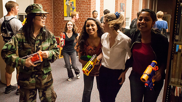 Wake Forest students play Humans vs. Zombies, a new tradition on campus, in the Z. Smith Reynolds Library.