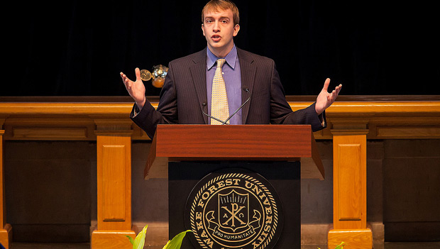 Senior Joshua Courtney delivers his senior oration at Founders' Day Convocation.