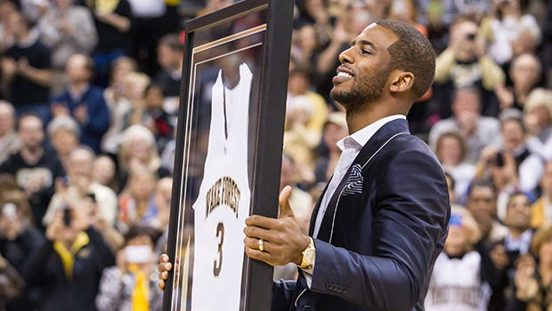 Chris Paul is presented with his retired jersey.