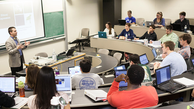 Students in a business classroom