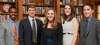 Student Government officers pose in President Hatch's office.