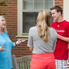 Professor Mary Dalton (second from left) talks with new students.