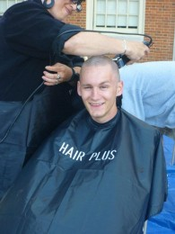 In spring 2011, Belangia shaved his head for St. Baldrick's Foundation for childhood cancer research.