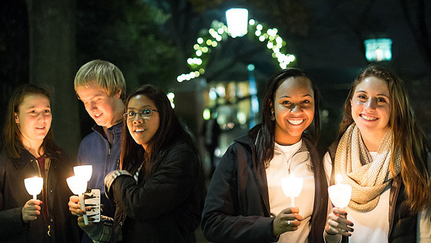 Students at the Lighting of the Quad
