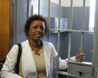 Oakes visited Mandela's jail cell on Robben Island