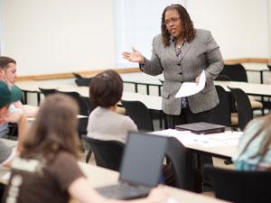 Veronice Miles teaching a homiletics class.