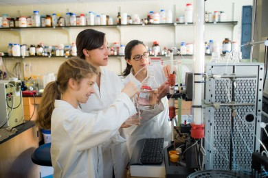 Wake Forest freshman Hannah Martin ('17) works with chemistry professor Patricia Dos Santos and graduate student Katherine Black ('11) in a lab in Salem Hall.