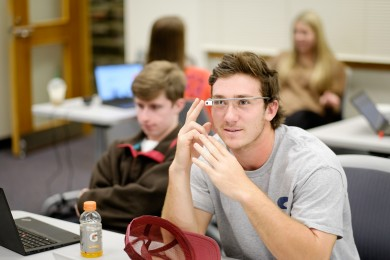 Ben Breazeale ('17) experiments with Google Glass.