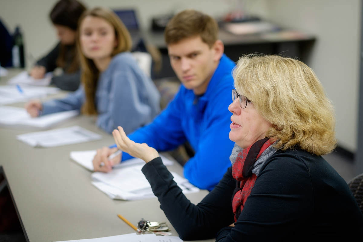 Politics and international affairs majors discuss policy in Harriger's seminar class