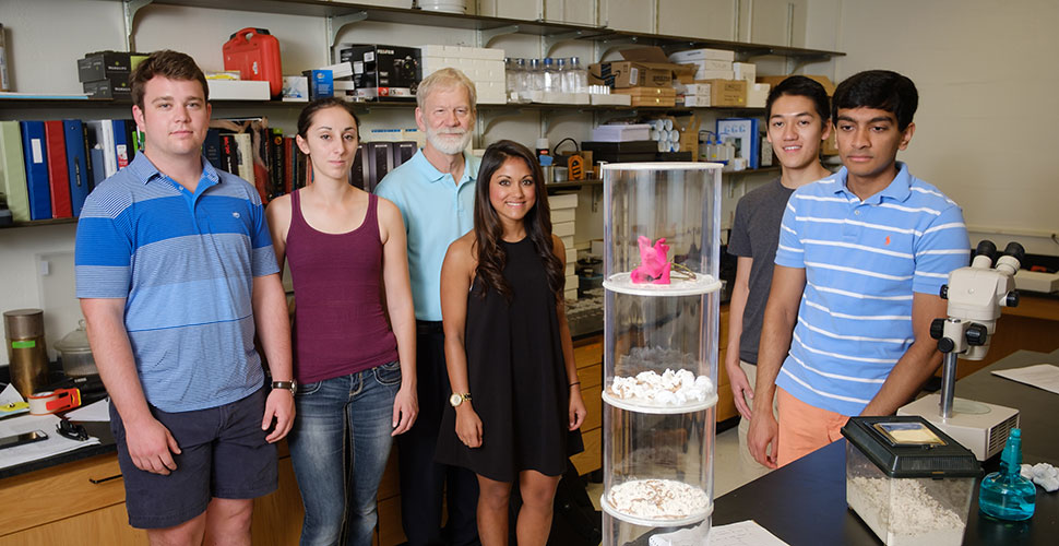 Group photo of Wake Forest students in the lab