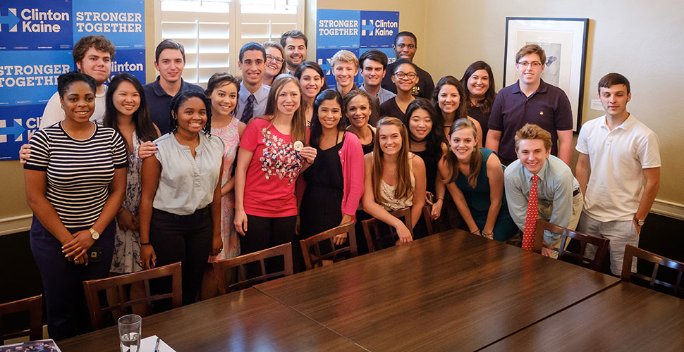 Chelsea Clinton with WFU Wake the Vote students