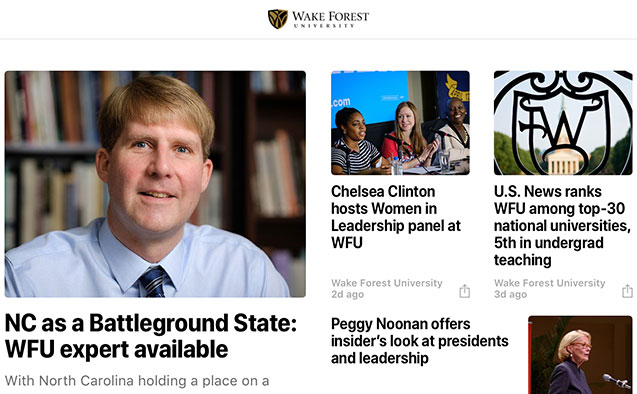 Image of Apple News page for WFU