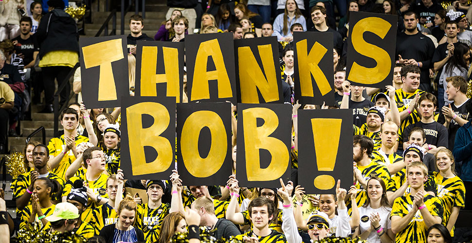 WFU students hold up letters that say