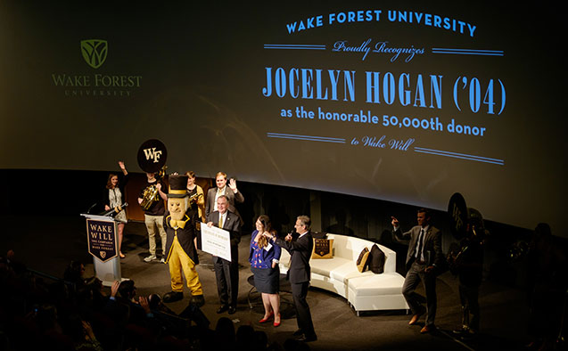 Celebration of the 50,000th donor to the Wake Will campaign