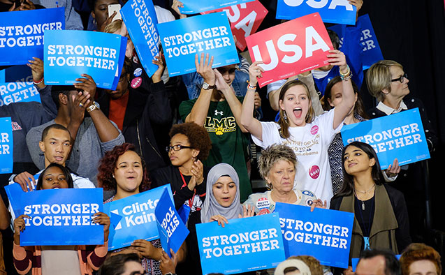 Wake Forest students at a campaign event for Hillary Clinton