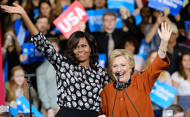Hillary Clinton (right) and Michelle Obama at a campaign event in Winston-Salem