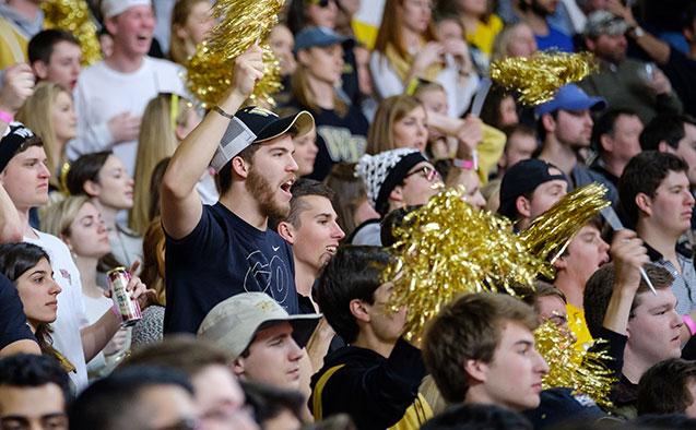 WFU students cheer at a basketball game