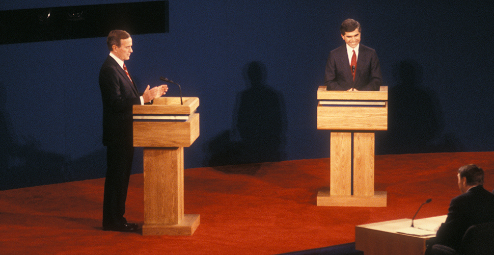 Former President George H.W. Bush and then-Mass. Gov. Michael Dukakis debate at WFU in 1988