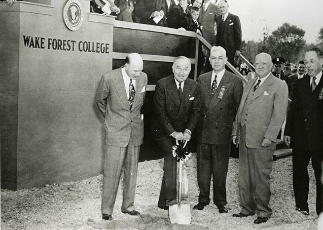 President Harry Truman breaks ground at the Reynolda Campus of Wake Forest