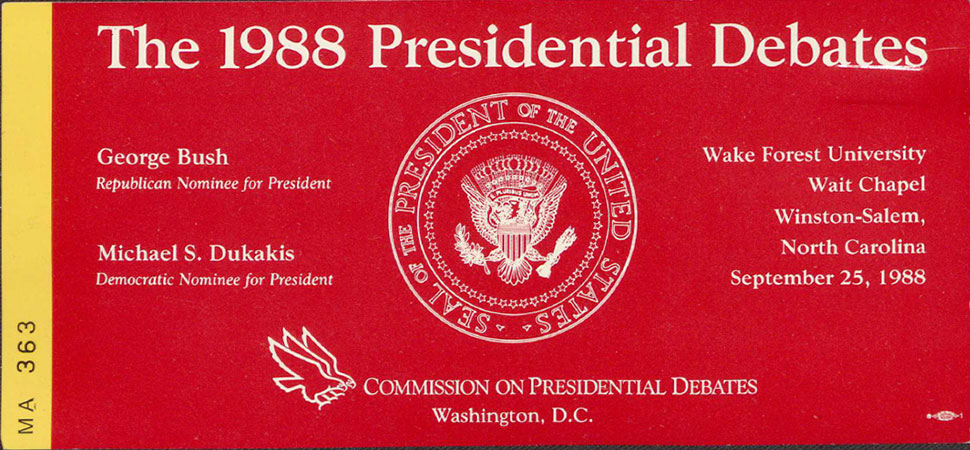 Ticket stub for the 1988 Presidential Debate at Wake Forest