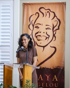 "Wake Forest University holds a dedication ceremony for the new Maya Angelou Residence Hall on Friday, February 17, 2017. Nia McIntosh ('18) performs ""Still I Rise"" to open the ceremony."