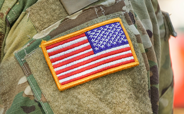 U.S. flag patch on a military uniform