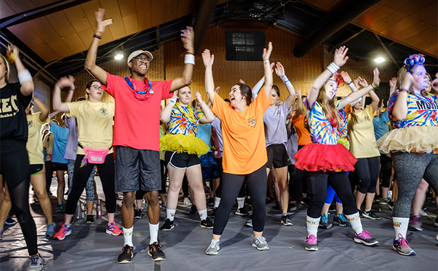 Students at Wake Forest participate in a 12-hour dance marathon to raise money for cancer research