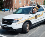The Demon Deacon drives a Wake Forest Emergency Medical Service (EMS) vehicle.